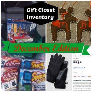 Gift Closet Inventory December Edition