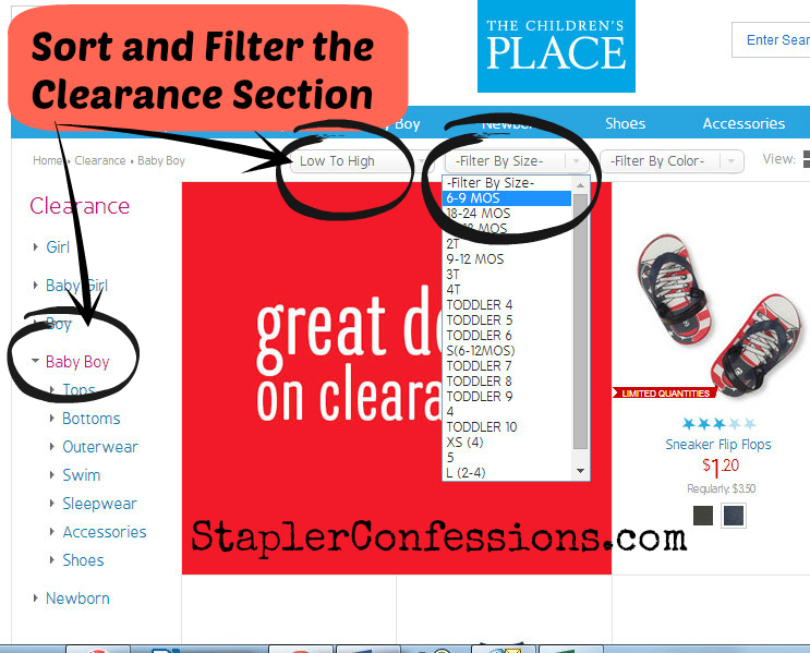 Save time in the clearance section by using the sort and filtering tools.