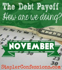 How are we doing with our debt payoff in November 2014?