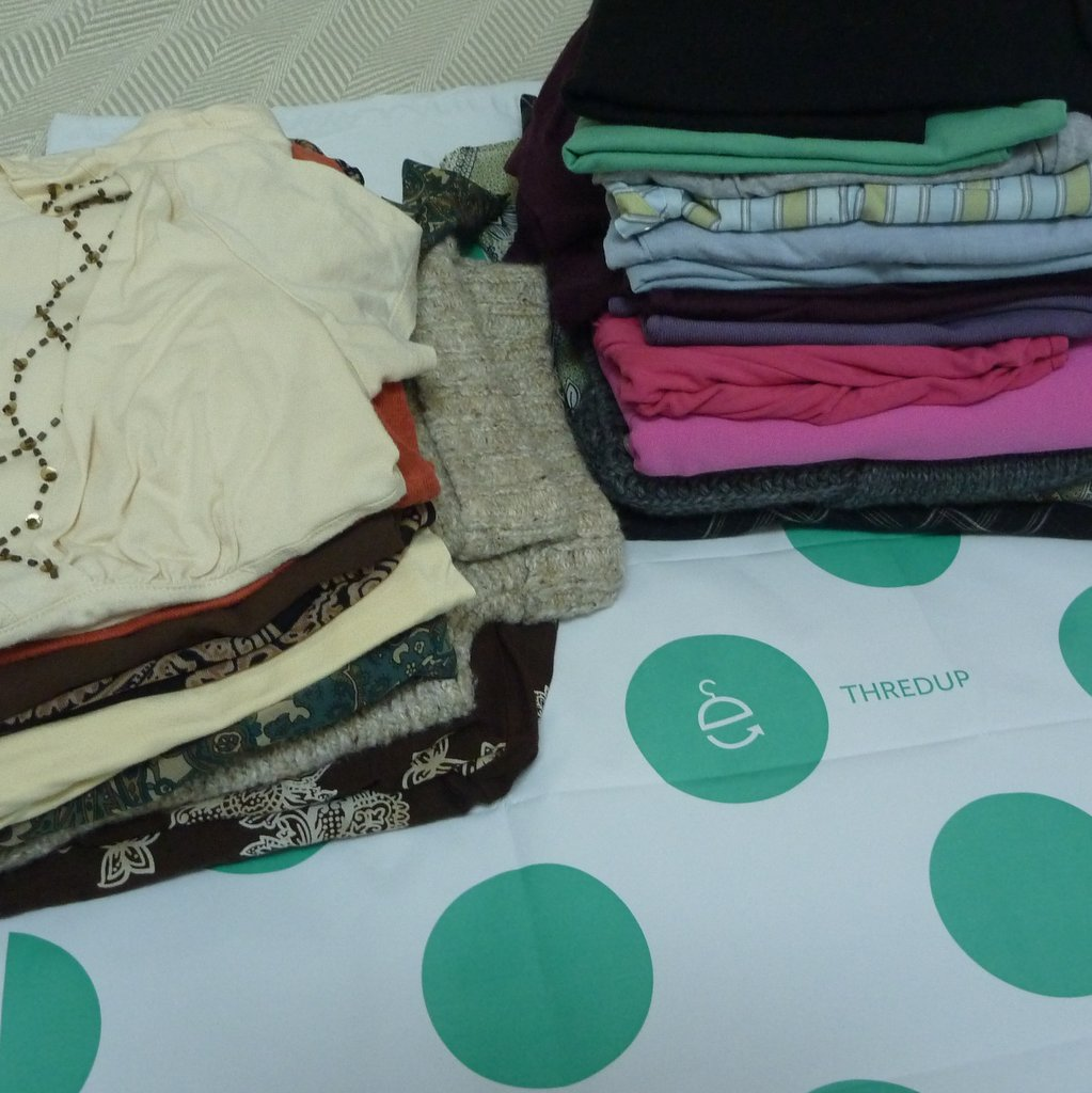I got over $40 for this pile of clothes when I sent them to an online consignment shop. But there were things I liked and didn't like about the experience, as compared to another online consignment shop.