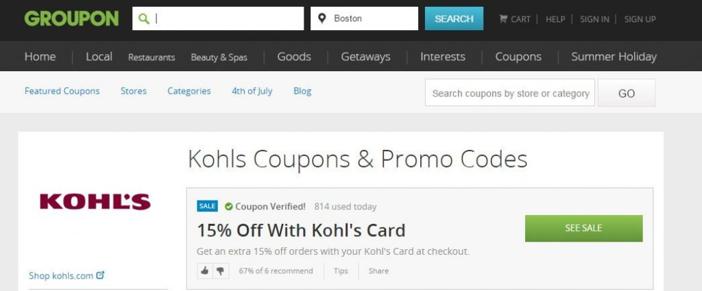 Groupon Coupon Kohl's Page