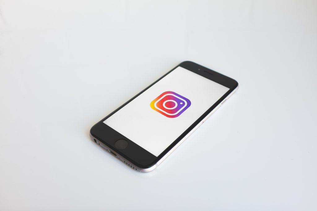 cell phone with instagram logo